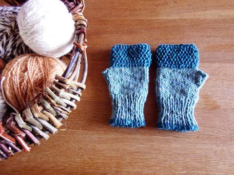 羊毛100% アイルランドの指なし手袋 / Aqua(アクア)