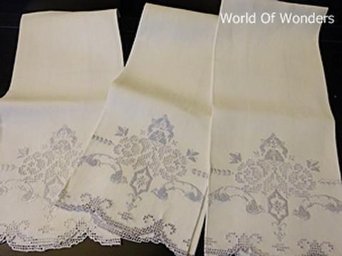 <ヴィンテージ>ハンドメイド 刺繍 コットンリネンタオル3枚組セット