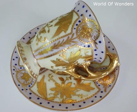 ドイツ製 ドレスデン オールハンドペイント イーグルハンドルカップ&ソーサー