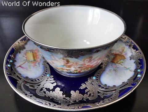 フランス製 セーブル シルバーオーバーレイ 天使のカップ&ソーサー