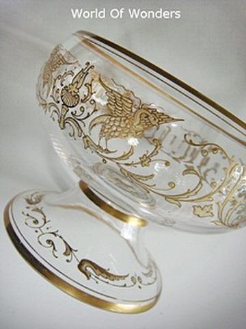 チェコ製 アンティークモーゼル 金彩ボウル(足付き)