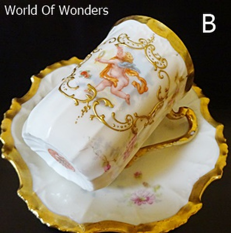 <アンティーク>フランス製 リモージュ 天使のカップ&ソーサー【B】