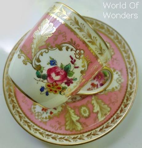 イギリス製 コールドン デミタスカップ&ソーサー(ピンク&ゴールド)