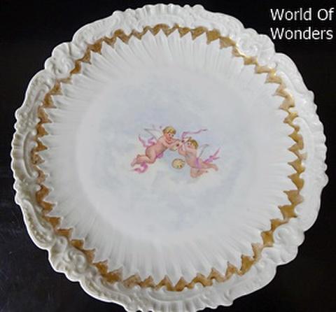 フランス製 リモージュ オールハンドペイント 天使のキャビネットプレート(B)