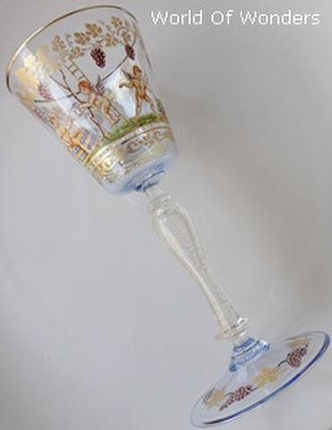 <アンティーク> ベネチアングラス オールハンドペイント 天使のゴブレット