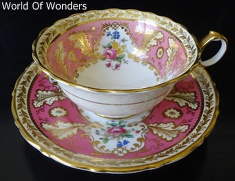 イギリス製 コールドン ティーカップ&ソーサー(ピンクとゴールド)