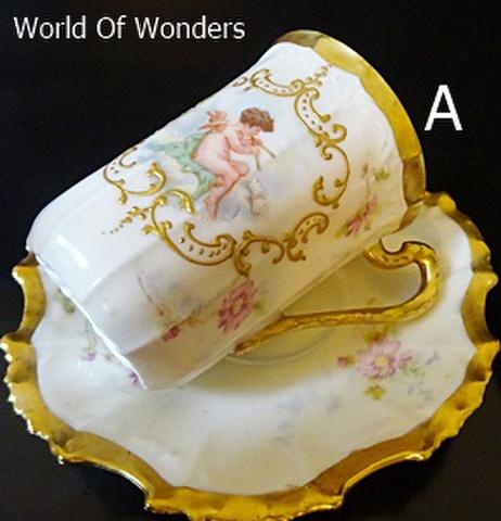 <アンティーク>フランス製 リモージュ 天使のカップ&ソーサー【A】
