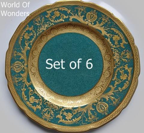 イギリス製 ロイヤルドルトン 6枚組 プレートセット(金彩金盛&ブルーグリーン)