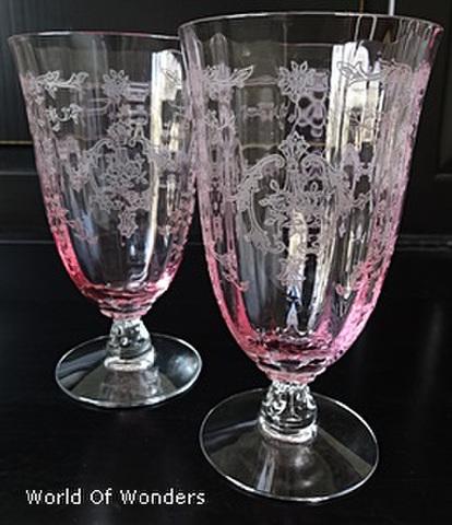 アメリカ製 フォストリア アイスティーグラス 2客組セット(ピンク)