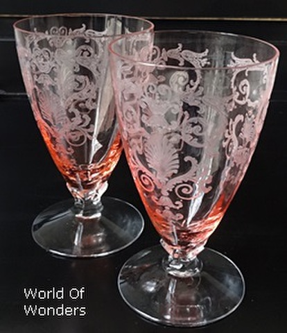 <お買い得!> アメリカ製 フォストリア ベルサイユ グラス2客組セット(シェルエッチング)