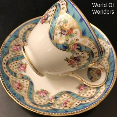 <送料無料!>イギリス製 ミントン 1850's カップ&ソーサー(エナメルリボン)