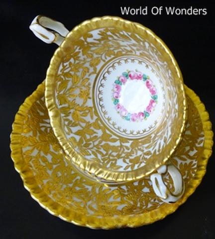 イギリス製 ハマースレイ ダブルハンドル カップ&ソーサー(金彩金盛)