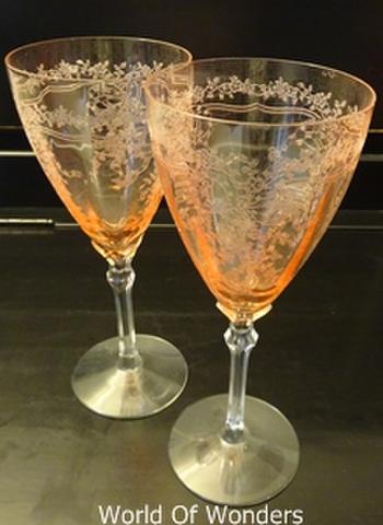 <ちょっと訳あり>アメリカ製 フォストリア ジューン ピンク ウォーターグラス 2客組セット