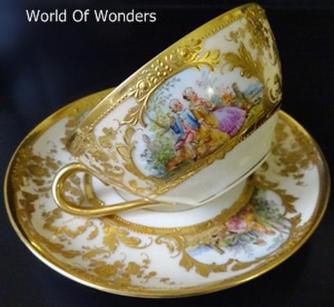 ドイツ製 ドレスデン ウィスマン工房 ティーカップ&ソーサー(金彩)