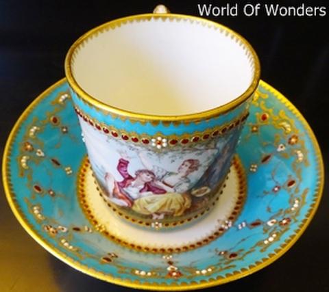 <アンティーク>1830's フランス製 セーブル ジュールカップ&ソーサー