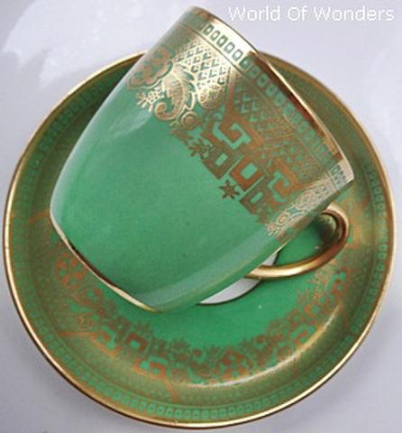 イギリス製 コールドン デミタスカップ&ソーサー(グリーン)