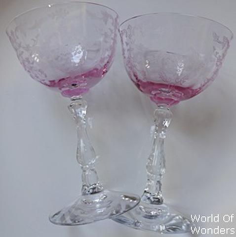 アメリカ製 フォストリア シャーベットグラス(ピンク)ペアセット
