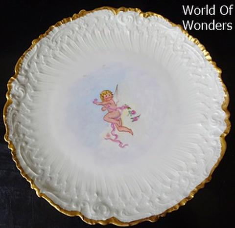 フランス製 リモージュ オールハンドペイント 天使のキャビネットプレート(A)