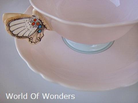 イギリス製 パラゴン バタフライハンドル カップ&ソーサー【ピンク】
