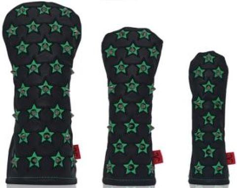 77BK21 Selmoヘッドカバー Stella(黒×黒)/緑 【UT】