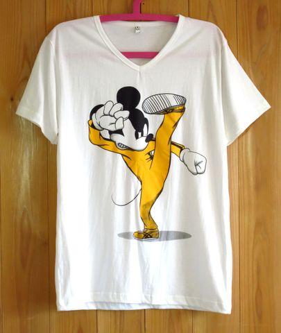 ブルース・リー x ミッキーマウス SMLXL 白 Vネック パロディーTシャツ カンフー 空手 格闘技 燃えよドラゴン 死亡遊戯 香港映画 ユニークTシャツ おもしろTシャツ