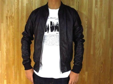 本革 MA-1 型 レザージャケット 黒 40サイズ 42サイズ M L 【Lattana Leather】シングルライダースジャケットブルゾンレザージャンバーメンズバイカーバイクジャケット本皮ネット通販販売新品