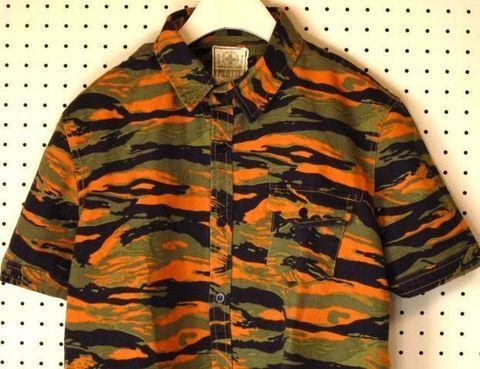 迷彩柄半袖ワークシャツ【PILOTTE】カモフラージュ柄カモフラ柄軍シャツアーミーシャツサバイバルゲーム