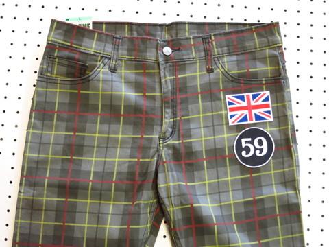 新品イギリス国旗ワッペン付カラフルチェックスリムパンツ茶グレーW30W32W34W36W38スキニーモッズパンクUKロックゴルフxxxllsmビッグサイズ有