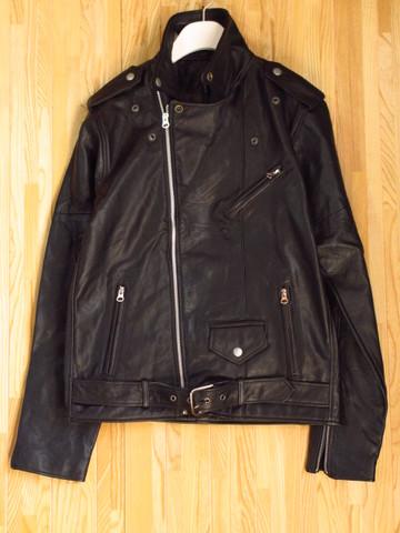 本革 ダブルライダースジャケット 黒 40 Lサイズ レザージャケット バイカー 牛革 本皮 新品 メンズ