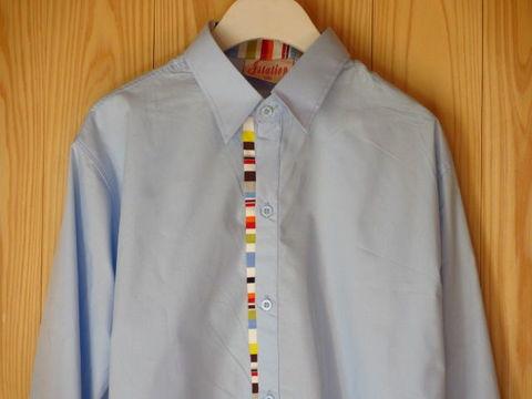 カラフル装飾×水色シャツSMLXL長袖シャツドレスシャツワイシャツデザインシャツおしゃれシャツデザインシャツサックスブルー
