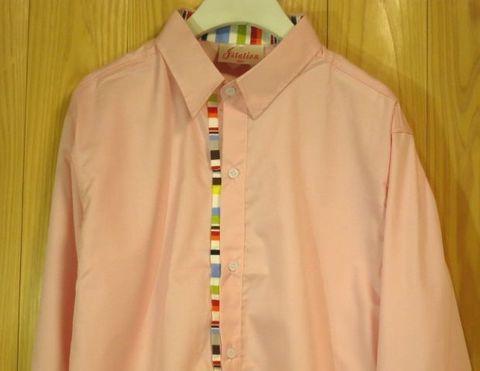 カラフル装飾×ピンクシャツSMLXL長袖シャツドレスシャツワイシャツデザインシャツおしゃれシャツデザインシャツパステルカラー