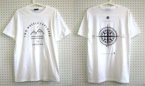 【Cliff】Two Wheels Explorer Tシャツ白Mサイズ/バックプリントアウトドアウェア登山トレッキングサーフィン