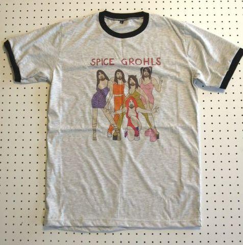 デイヴ・グロール × スパイスガールズ パロディーTシャツ Lサイズ グレー フーファイターズ Foo Fighters ニルヴァーナ ニルバーナ Nirvana Dave Grohl David Grohl Spice Girls ロックTシャツ バンドTシャツ おもしろTシャツ 面白Tシャツ ドラム ドラマー フーファイ