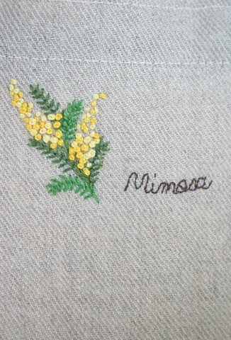 刺繍のリネンバッグ(ミモザ)