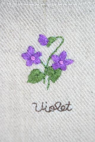刺繍のリネンバッグ(すみれ)
