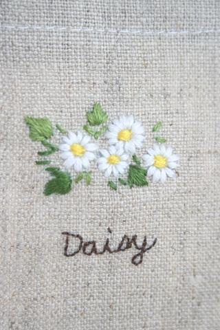 刺繍のリネンバッグ(デイジー)