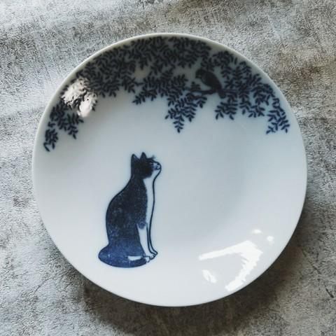 銅版絵付け・小鳥と猫 プレート13cm