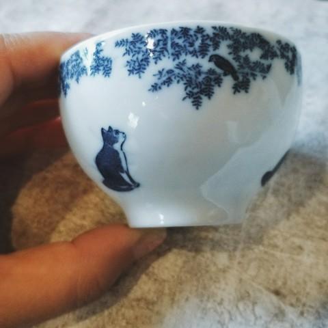 銅版絵付け・小鳥と猫 スモールカップ