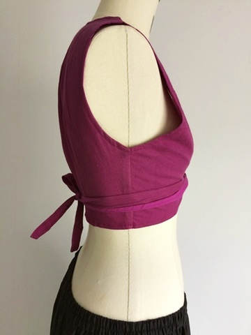 Cotton Tie Vest Raspberry