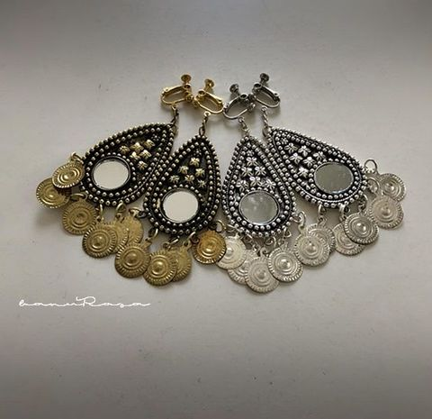 Mirror & Metal chain Earrings