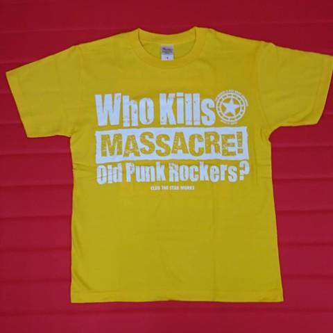 "CLUB THE STAR / Who Kills ""MASSACRE!"" Oid Punk Rockers? Tシャツ ライトイエロー ダークイエロー"