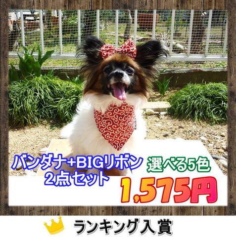 【送料無料】唐草 BIGリボン&バンダナ 2点セット