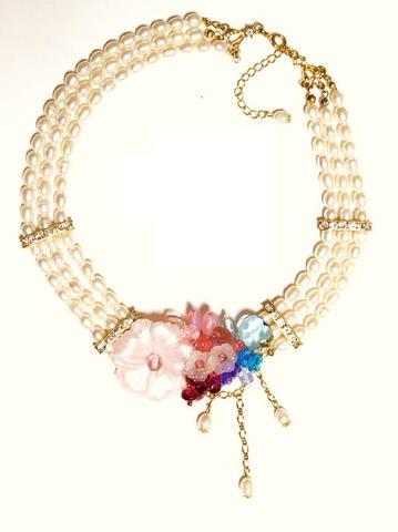 花のワルツネックレス(G&Pink)