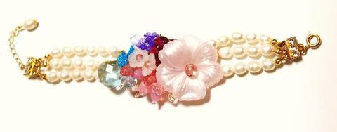 花のワルツブレスレット(G&Pink)