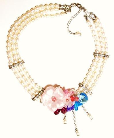 花のワルツネックレス(S&Pink)