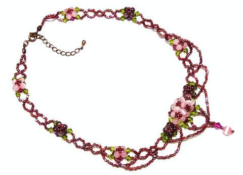 紫陽花ネックレス           (ピンク)