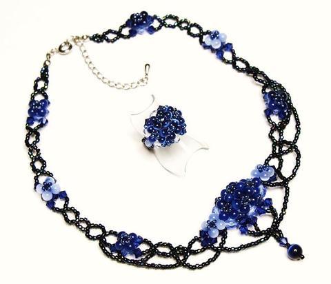 紫陽花ネックレス&リング           (ダークサファイヤ)