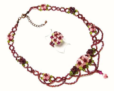 紫陽花ネックレス&リング            (ピンク)