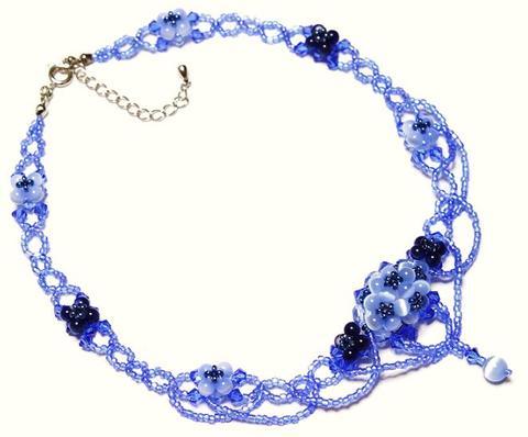 紫陽花ネックレス            (ライトサファイヤ)