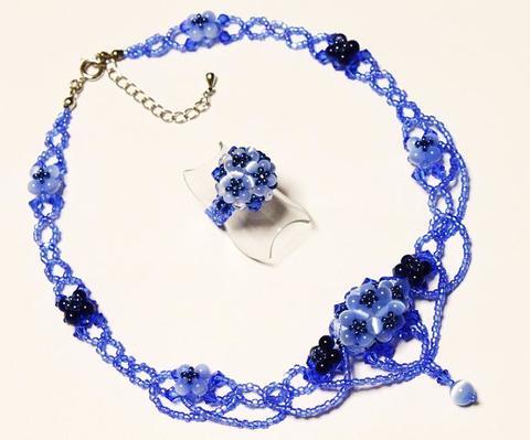 紫陽花ネックレス&リング           (ライトサファイヤ)